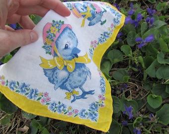 Vintage Bird Handkerchief Child's Hanky