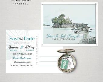 Bali Indonesia Destination wedding save the date Asia bilingual postcard - balinese island wedding - Deposit Payment