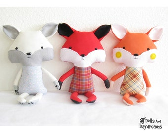Fox Sewing Pattern PDF Stuffed Toy Softie Instant Download