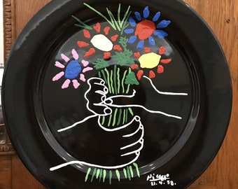 """Picasso Plate. Hand-Painted Decorative Plate in Homage to Pablo Picasso. 12.5"""" Diameter. Bouquet of Flowers"""