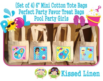 Summer Swim Pool Fun in the Sun Girls Boys Birthday Party Treat Favor Gift Bags Mini Cotton Totes Children Kids Girls Boys Set of 4 or 8