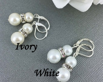 Pearl Earrings Bridemaid Gift Bridal Earrings Bridesmaids Earrings Maid of Honor Mother of Bride Mother of Groom Bridal Party