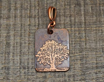 Tree pendant, small flat rectangular etched metal, optional necklace, 25mm