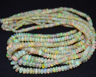 Rainbow Flash Ethiopian opal smooth Beads size 3 to 7 mm , 16 inch Strand