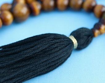 108 Bead Tigereye Mala Necklace with Black Tassel for Strength - Tiger Eye Mala Prayer Beads