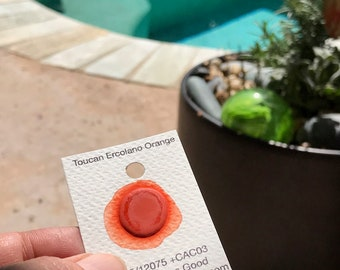 Dot Card Handmade Watercolor Paint Toucan Ercolano Orange