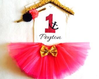 Girls anchor 1st birthday outfit, anchor first birthday outfit, nautical birthday, hot pink, navy blue, gold, girls anchor shirt, birthday