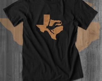 Texas Rock Climbing Bouldering T-Shirt| Free Shipping