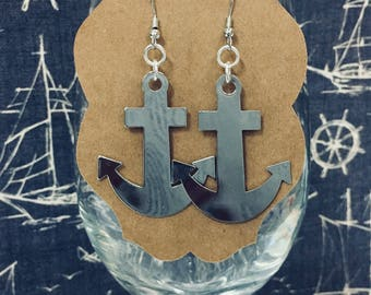 Silver Anchor Earrings Nautical Jewelry