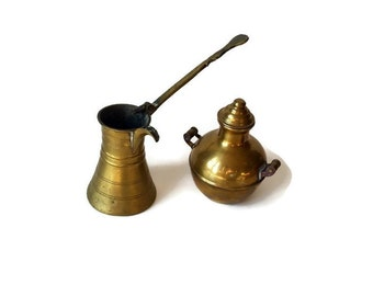 Vintage Pair Brass Accent Pieces - Room Decor Ornaments - Urn and Dipper - Morocco