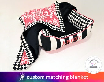 Ultra Soft Pink Black Blanket with Cuddle Fabric - Dog Blanket or Cat Blanket