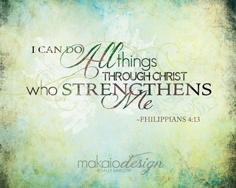 Philippians 4:13 Typography Art Christian Art Gallery Wrapped Canvas