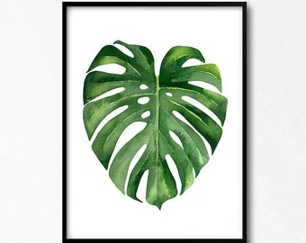 Monstera poster. Monstera leaf. Tropical leaves. Above bed art. Watercolour Leaf, Tropical Leaf, Tropical Art Printable, Australian poster,