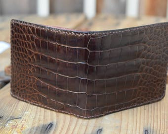 Chocolate Alligator Wallet/ Leather Wallet/ Gift for her/ mens wallet/ womens wallet/ gift for him/ custom mens wallet/ bifold wallet