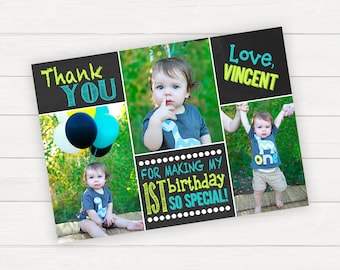 Thank you cards First Birthday Thank You Card 1st Birthday Thank You Card Photo Thank You Boy Birthday Printable Birthday Thank You Notes