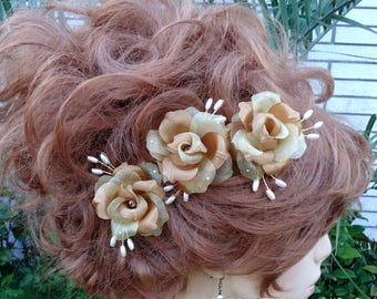 Bridal Hair Pins, Rose Hair Pins, Antique Gold Roses, Set of 3, Wedding Accessories, Any Color, REX17404