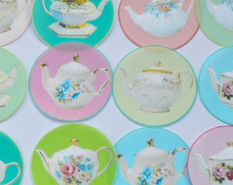 Edible Mixed Colours Teapots Wafers Rice Paper x 12 Circles Wedding Afternoon Tea Cake Decorations Birthday Cupcake Cute Cookie Toppers RTD
