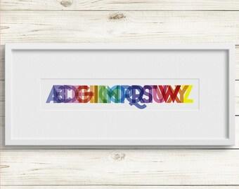 Nursery art, nursery prints, alphabet art, colorful nursery art, gender-neutral, baby shower gift, nursery gift, nursery decor, baby decor