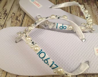 Shanna Personalized Bridal Flip Flops, Starfish Custom Flip Flops, I Do Flip Flops Starfish Bridal Sandals Beach Wedding Shoes Wedding Shoes