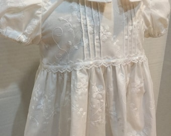 White Embroidered Christening Gown & Bonnet