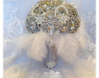 The Great Gatsby Art Deco THEME.  FULL PRICE Vintage Draping Diamond Crystal Pearl Feather Brooch Bouquet