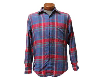 Distressed Plaid Shirt Saks Fifth Avenue Size Medium