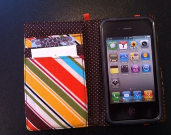 Orange striped iPhone 3, 4, 4S, 5, iPod Touch 4G wallet with removable gel case