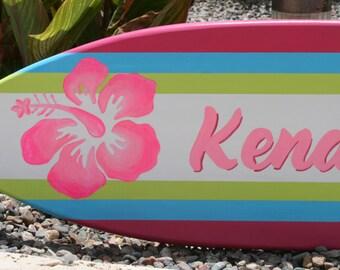 Mini surfboard wall art, beach decor, personalized children's room art, kid's decor, hawaii decor, tropical, hibiscus art, surf decor