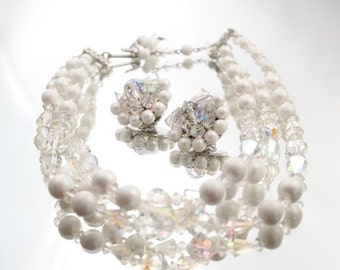 Crystal Vintage Aurora Borealis Demi Parure Necklace & Earring Set Wedding Bridal Formal
