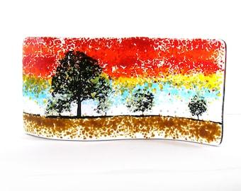 Fused Glass Oak Tree Curve, Kiln formed, Glass Gift, Three Trees, Oak, Autumn