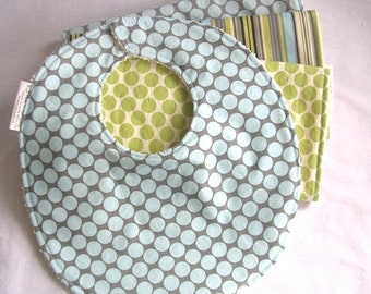 Boutique Burp Cloths and Bib Gift Set - Amy Butler Full Moon Polka Dot and Lotus Stripe