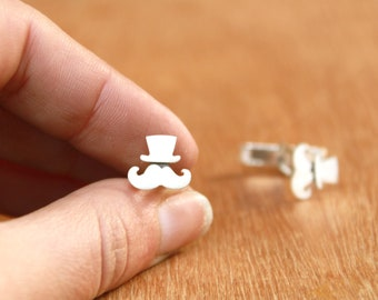 Mustaches with hat Cufflinks- sterling silver