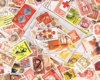 Orange & yellow postage stamps, vintage + more recent, used world stamps for crafting, collage, upcycling or collecting - all off paper