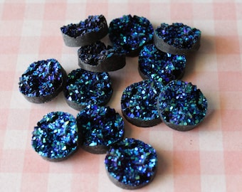12-Blue Resin Druzy Beads 12mm - Set of 12 -Drusy Cabochon Ready to Ship , Jewelry Supplies,No Drilled Holes
