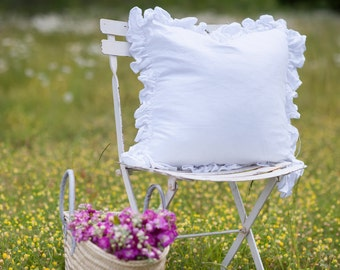 Ruffled Linen Throw Pillow