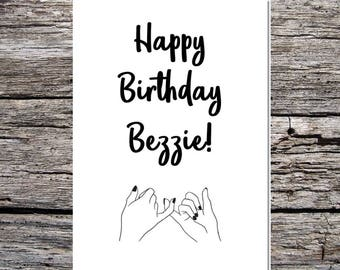 best friend birthday card, friend card, best friend, bestie, funny happy birthday card curly/script font to my bezzie friend pinky promise