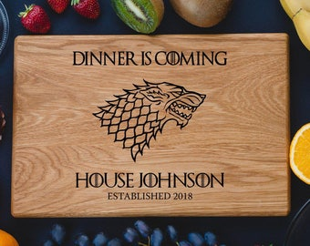 Game of Thrones Personalized Cutting Board House Stark DireWolf Dinner is coming Custom cutting boards Anniversary Gifts game02