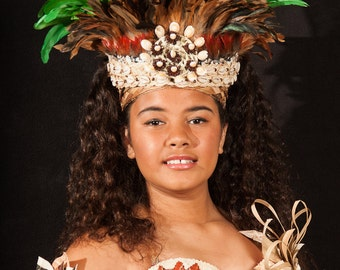 Authentic Tapa Cloth & Lauhala Bra. Tahitian And Cook Islands/Rarotongan Costumes. Perfect For Girls Of All Ages!!