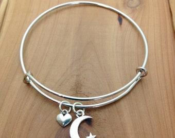 Charm Bracelet -  Moon & Star Charm - Celestial Jewelry - Adjustable Bangle Bracelet - Expandable Bracelet - ADULT and KID size available