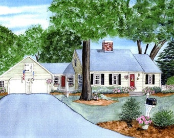 Commissioned Home Portrait In Watercolor  By Cynthia Van Horne Ehrlich-Commission Painting Of House-Custom House Portrait