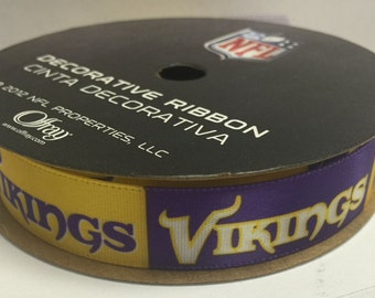 "5/8"" NFL Minnesota Vikings Ribbon, 9 foot spool, Licensed NFL Offray Ribbon"
