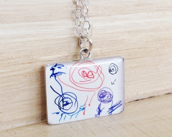 Personalized Kids Drawing Necklace, Child's Actual Drawing, Handwriting Jewelry, Childrens Drawing Necklace, Grandma Necklace, Gift For Mom
