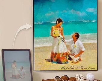 Wedding Anniversary Portrait, Family Gift, Gift for Couples, Custom Art Portrait, Gift for Her, Gift for Him, Family Portrait, Wedding Gift