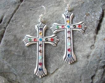 Cross Earrings, Swarovski Earrings, Rhinestone Earrings, Southwest Earrings, Cowgirl Earrings, Dangle Earrings, Cowboy Bling Earrings