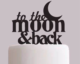 To the Moon and Back Wedding Cake Topper - Black White Gold and Wood - Choose your Colour!