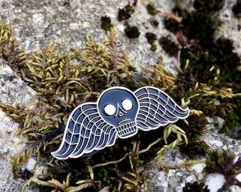 Deathshead Enamel Pin, Memento Mori Pin, Taphophile Enamel Pin