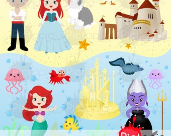 Mermaid Princess Digital Clipart for Personal Use / INSTANT DOWNLOAD