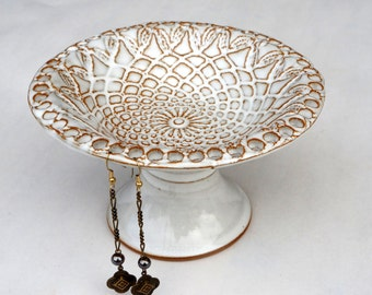 Jewelry Organizer, Jewelry display, Earring Holder, Earring Tree, Pedestal Bowl MADE TO ORDER