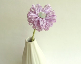 Handmade Fabric Flower in Lilac Ribbon