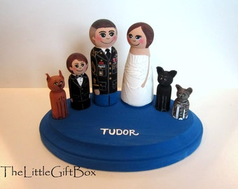 Wedding Cake Topper / Custom Painted  Wood Peg Dolls / Couple plus 4 small pegs (perfect for children or pets) and plaque